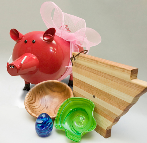 Arkansas State Capitol cutting board pig bowls