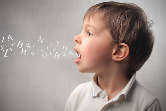 silent support boy speaking letters open mouth