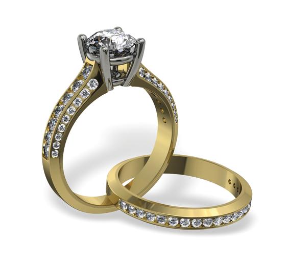 Golden Diamond studdeed wedding rings