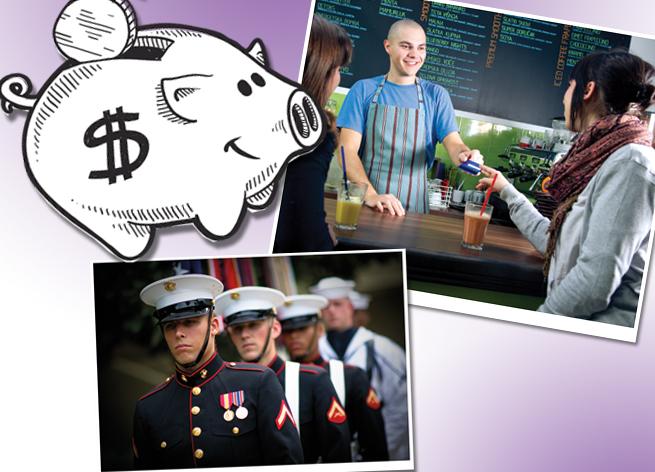 comic pig barista cashier military