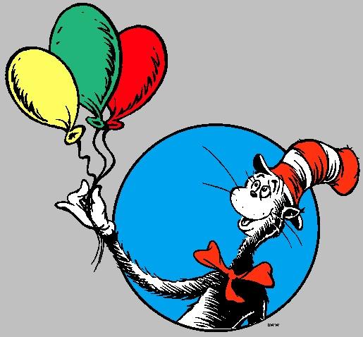 Dr. Seuss, Cat in hat, balloons