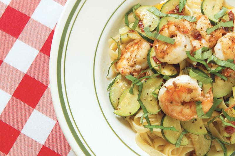 The fettucini shrimp zucchini pomodoro at Bruno's Little Italy