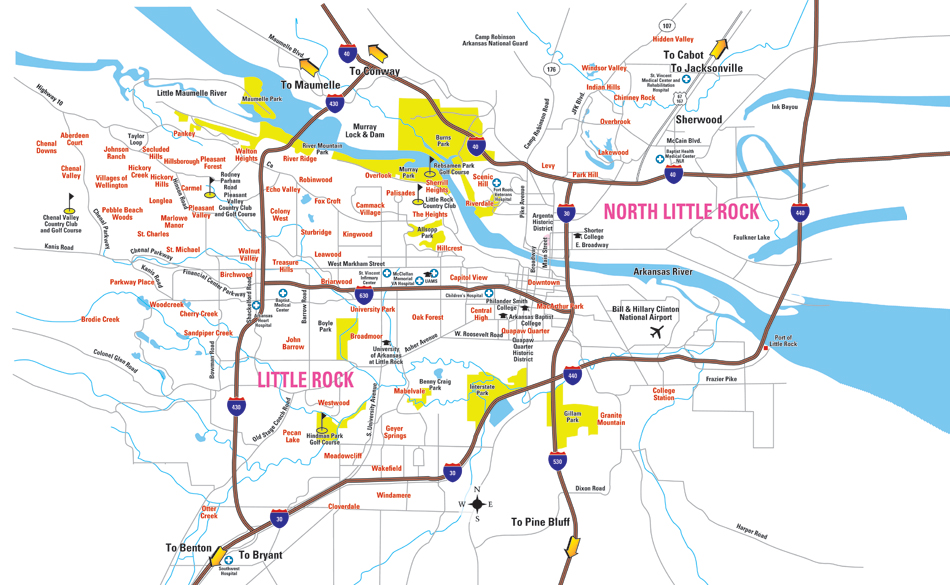 Little Rock Map Metro Little Rock Guide