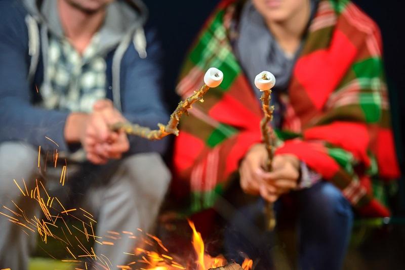 Roasting marshmallows over campfire, winter campfire
