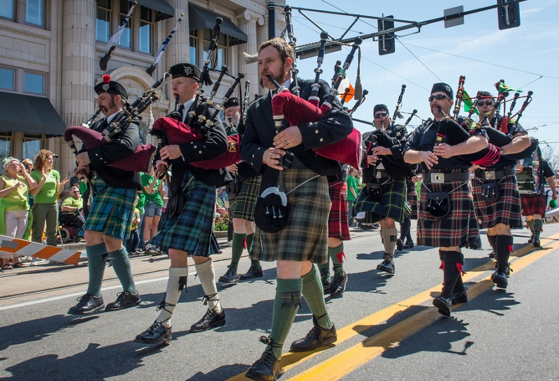 Bagpipers, St. Patrick's Day Parade, Rock to North Little Rock, Irish Cultural Society of Arkansas