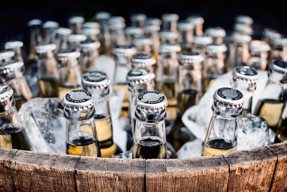bottled craft beer in ice