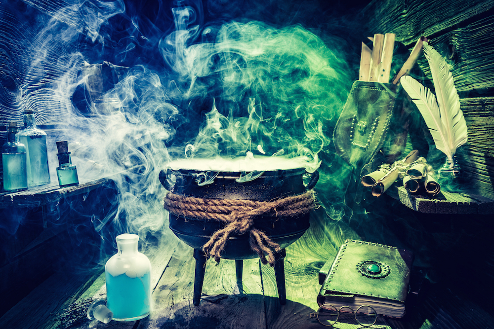 witches, magic spell, cauldron, scary, Halloween