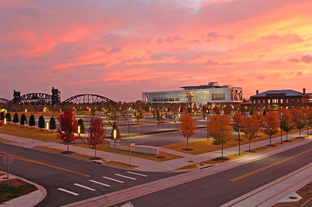 Clinton Presidential Center, Clinton Library, fall foliage, autumn, sunset, downtown Little Rock