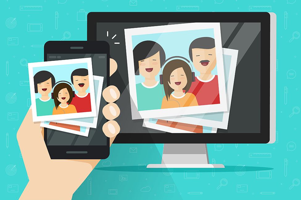 Mobile Device connected to TV family photos illustration