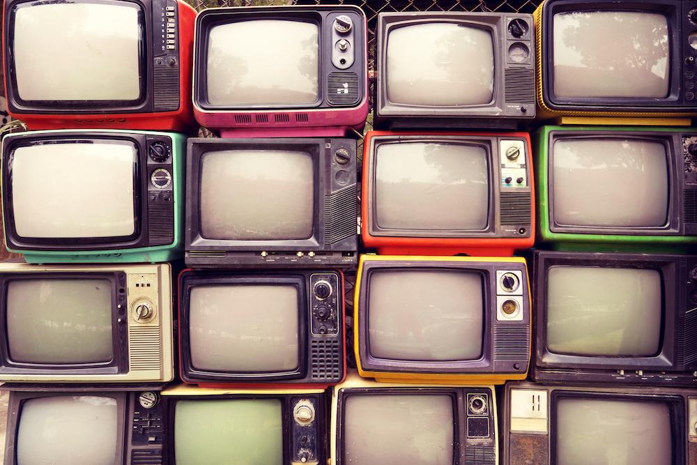 retro televisions, tvs, junkyard, electronics