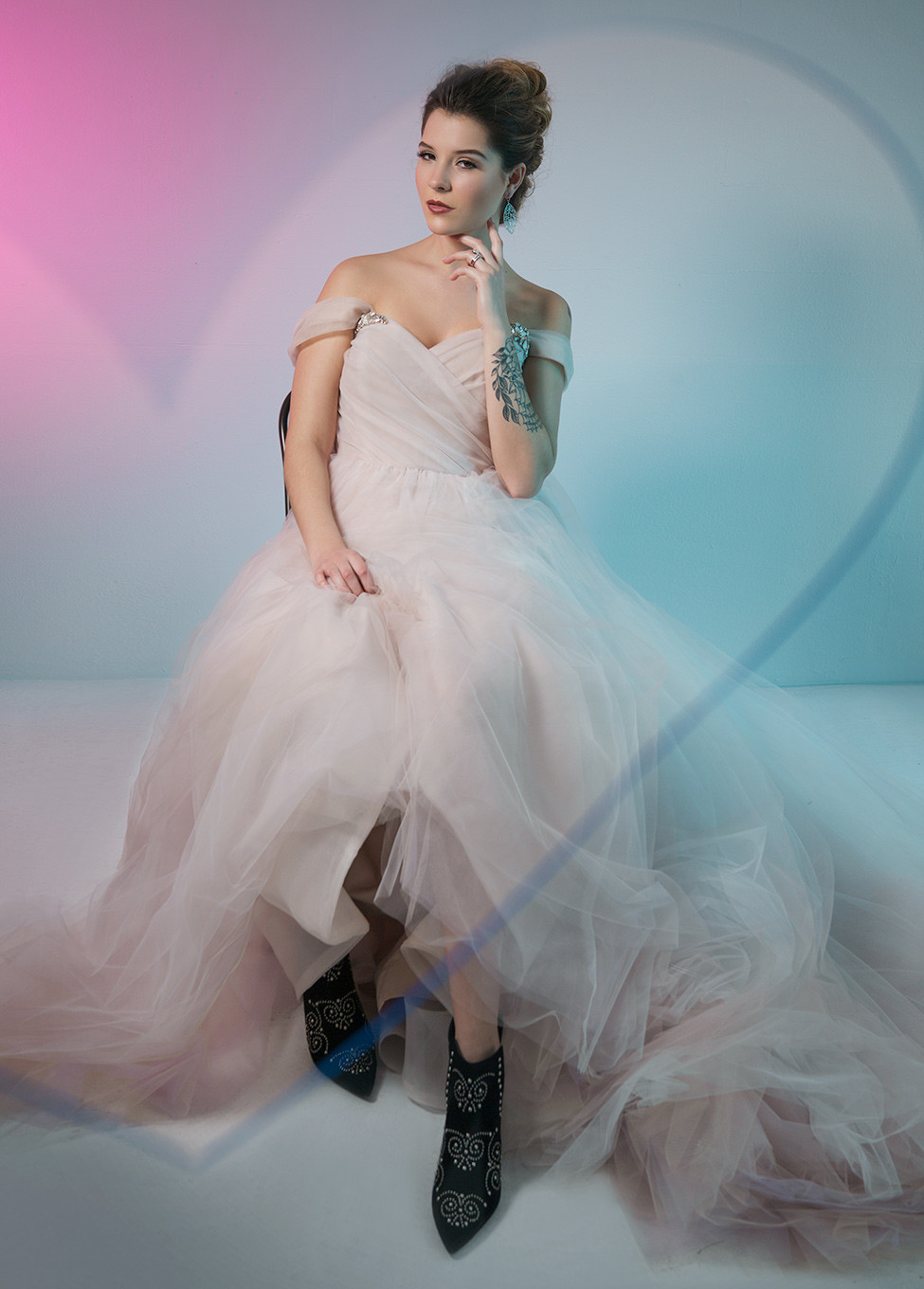 """daa789369 Share It Tweet It Pin It. Jason Masters. Blush by Hayley Paige's pink """"Milo""""  gown ..."""