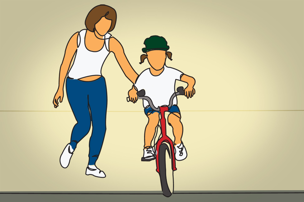 learning to ride bicycle shutterstock illustration