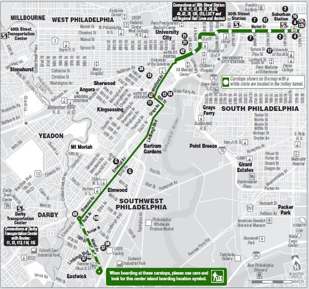 Route of the Week - 36   SEPTA on philadelphia trolley map, new orleans trolley map, dallas trolley map, pittsburgh trolley map, washington dc trolley map, tucson streetcar route map, i ride trolley map, green line trolley map, portland light rail map, san diego trolley map, new haven trolley map, charlotte trolley map, cleveland rta trolley map, san francisco trolley map, tampa trolley map, memphis trolley map, mbta trolley map, mts trolley map, waikiki trolley map, metro station paris map,