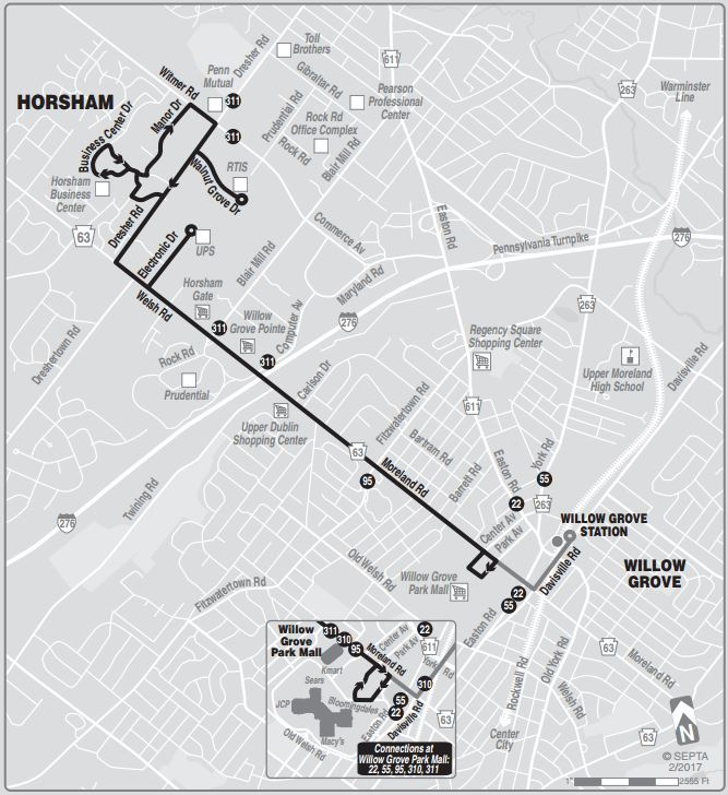Willow Grove Mall Map Route of the Week   Horsham Breeze Red & Blue | SEPTA Willow Grove Mall Map