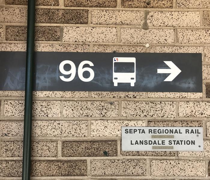 Bus 108 sign landale station