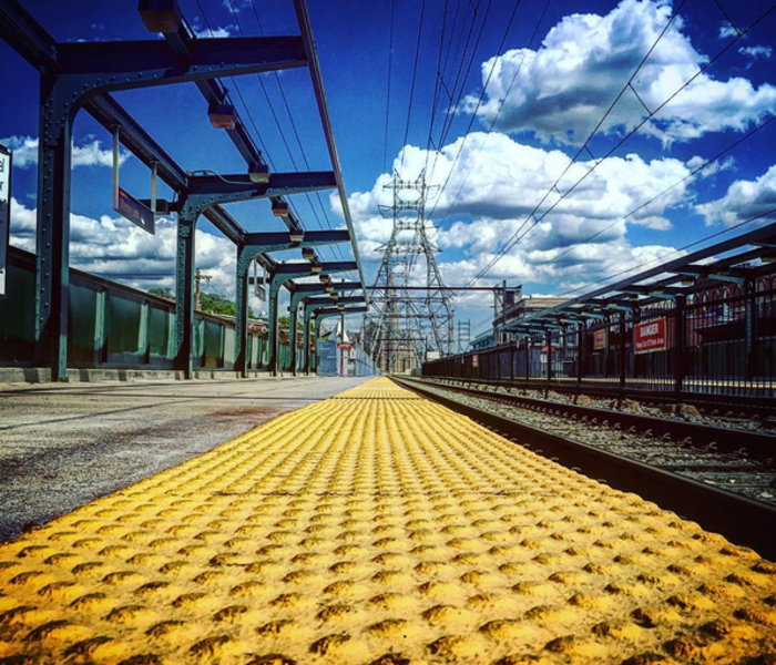 Tracks yellow line blue sky clouds ig
