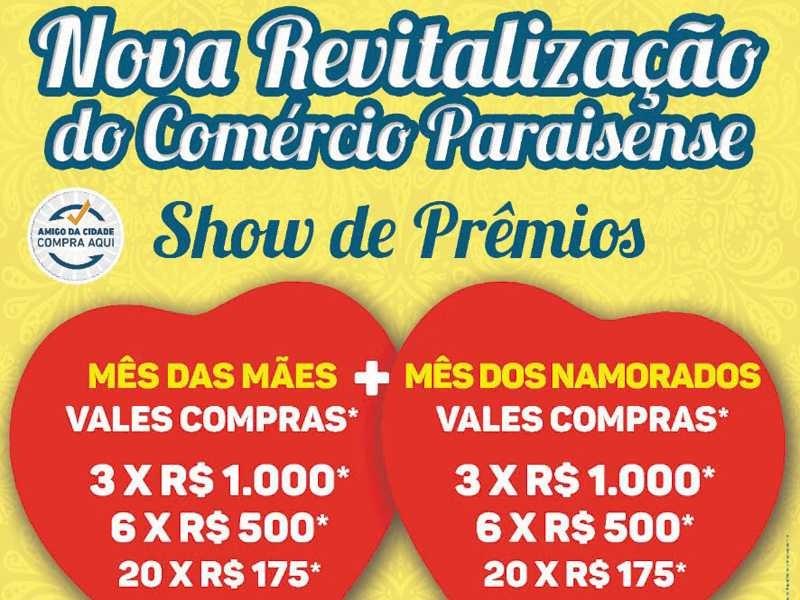 Campanha Nova Revitalização Comércio Paraisense entrega Vales Compras e prepara sorteio para Mês dos Namorados