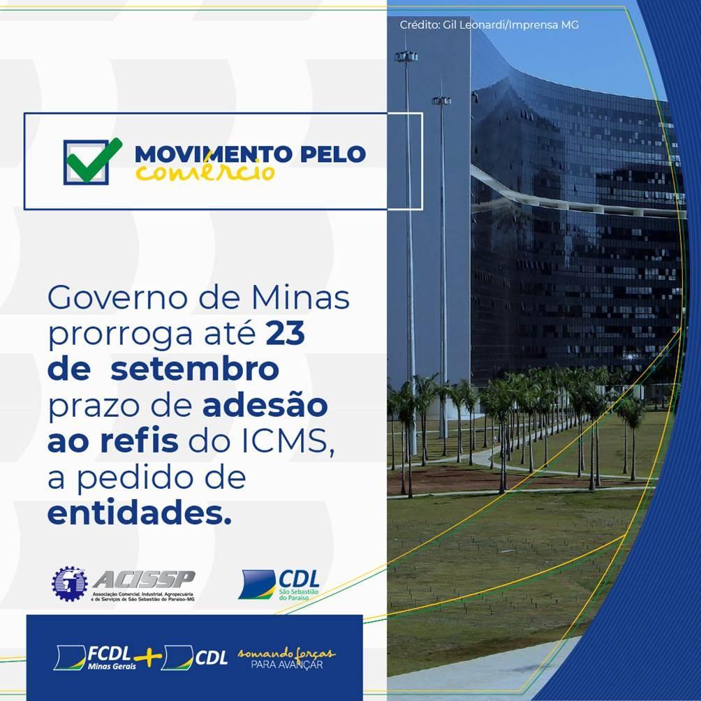 Governo de Minas prorroga até 23 de setembro prazo de adesão ao refis do ICMS