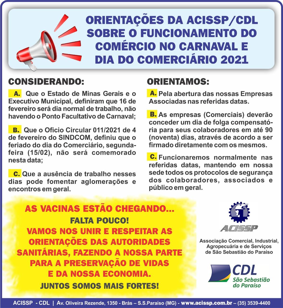 Orientações sobre o Funcionamento do Comércio no Carnaval e Dia do Comerciário 2021