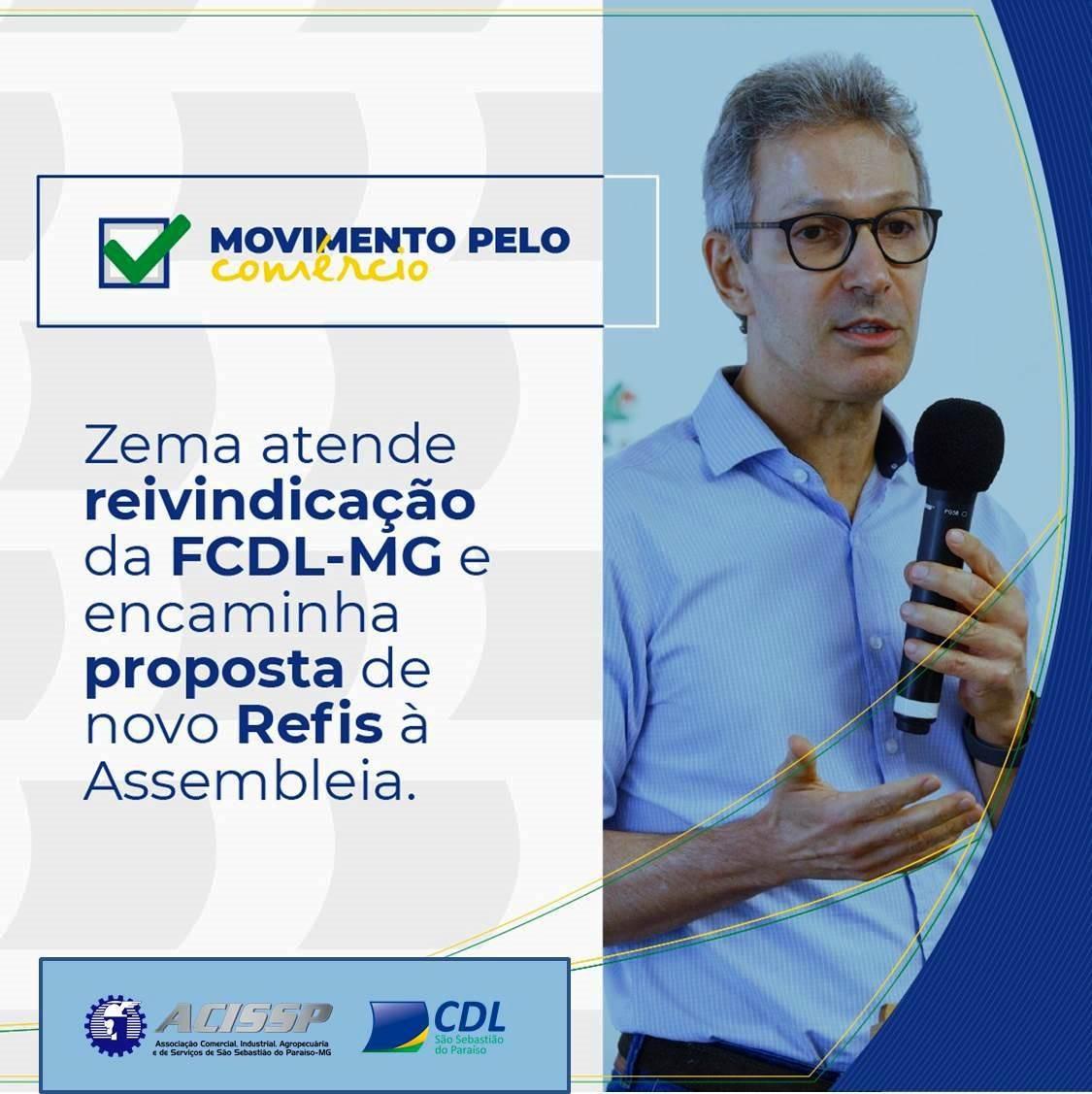 Zema atende reivindicação da FCDL-MG e encaminha proposta de novo Refis à Assembleia
