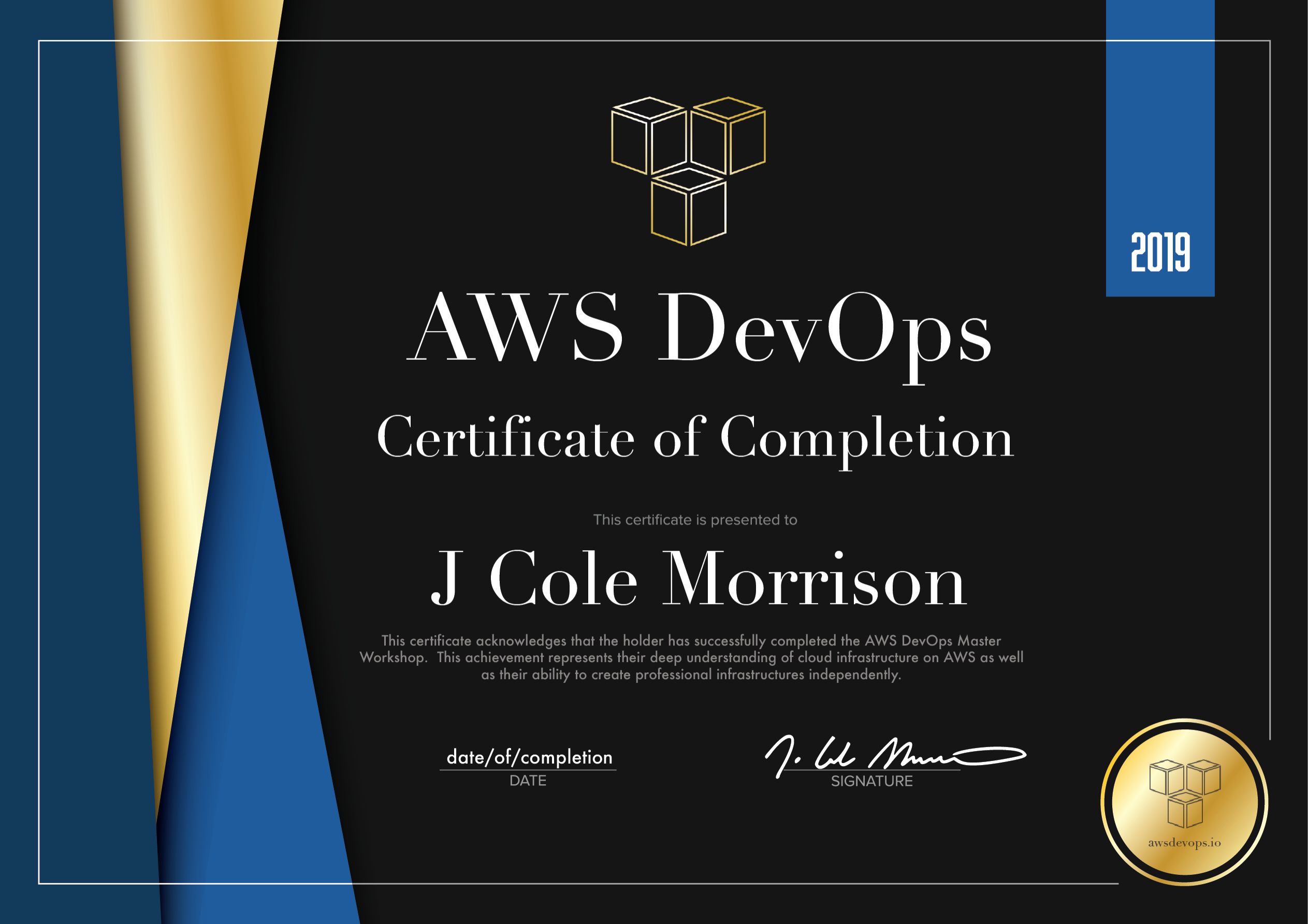 the AwsDevops.io Master Workshop Certificate of Completion