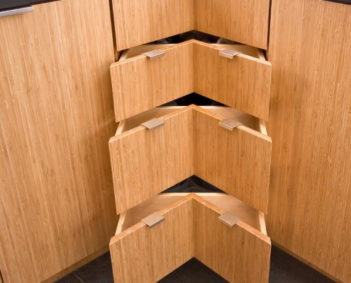 RESIDENTIAL CABINETRY VanBeeks Custom Wood Products, Inc Vertical Carbonized Bamboo