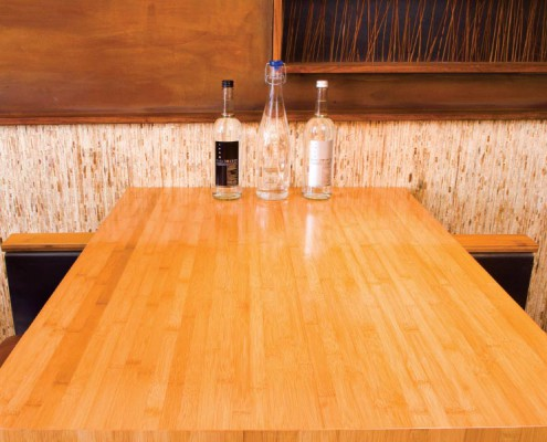 RESTAURANT TABLE The Guild, San Diego, California Horizontal Carbonized Bamboo