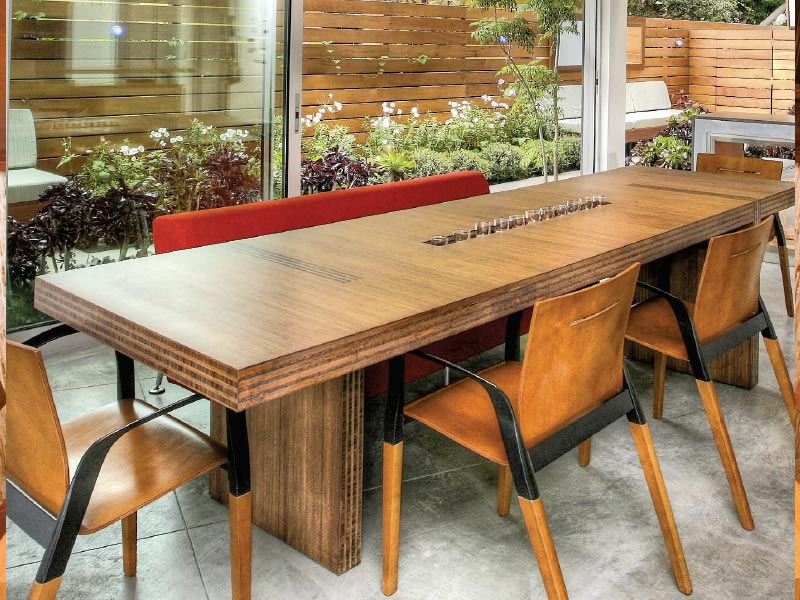MILWOOD KITCHEN TABLE Viesso Furniture Horizontal Carbonized Bamboo