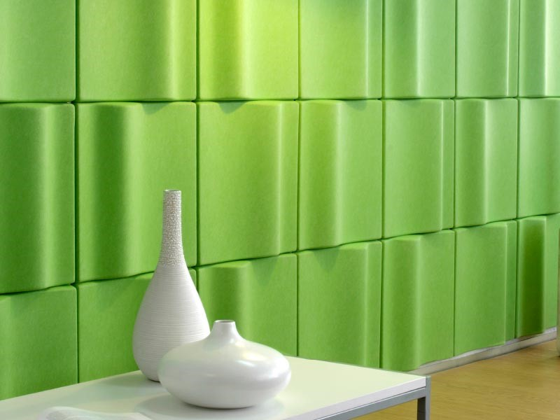 Bold-Colored Wave Tiles Acoustic Panels