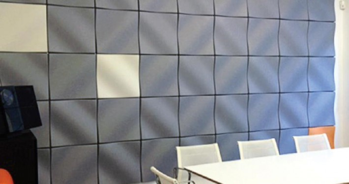 Curved Acoustic Panels | Kirei EchoPanel Mura Dune Tile Colors #444 & #500