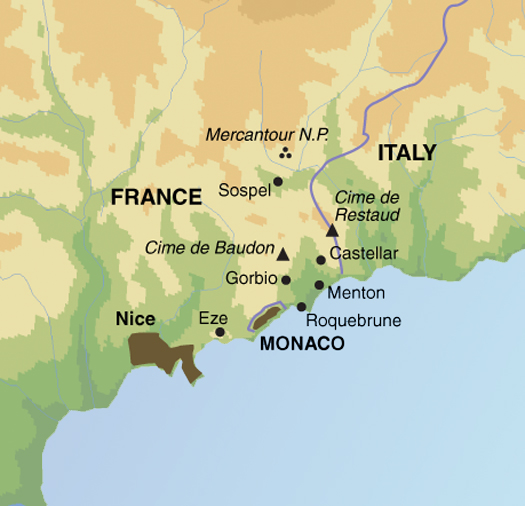 Map Of France N Italy.Walking The French Riviera National Park Traveller