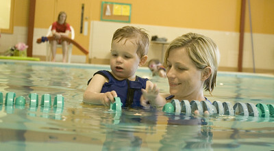 special needs swim student with private swim instructor