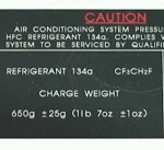 A/C Specifications Label