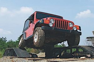 4x4 Jeep Wrangler on Ramps