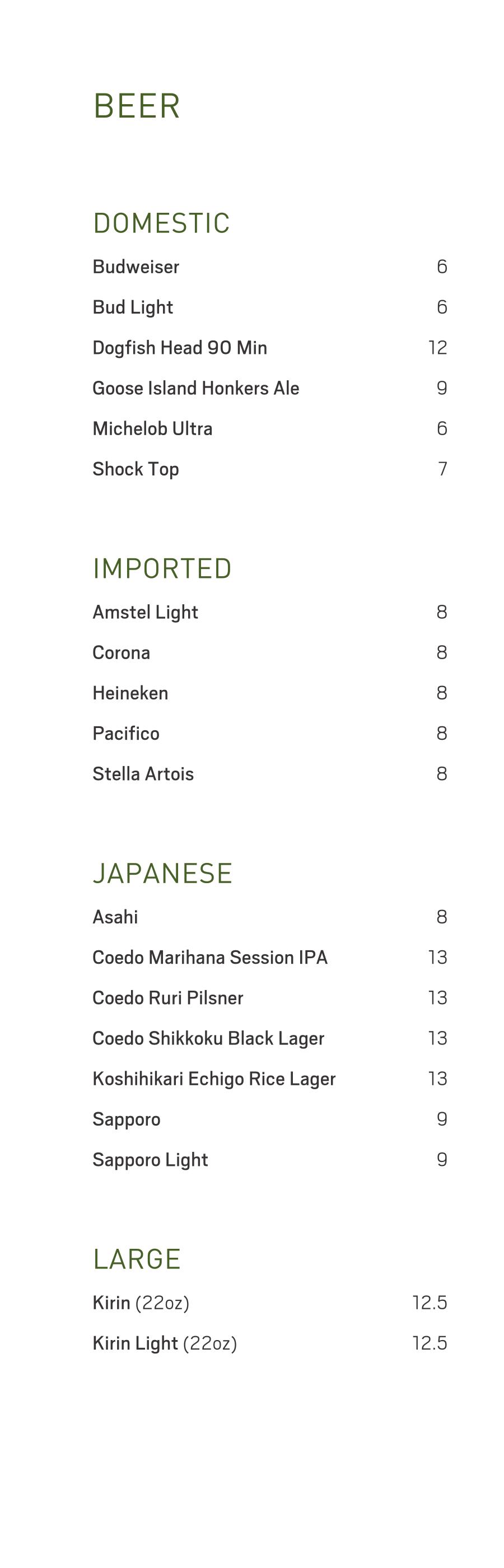 KUMI Beer List Las Vegas July 2018