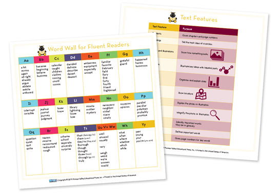 Literacy Footprints Chart Cards for Fifth/Sixth Grade
