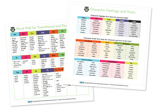 Word Wall/Character Feelings and Traits Cards for Fourth Grade