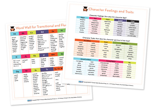 Word Wall/Character Feelings and Traits Cards for Third Grade