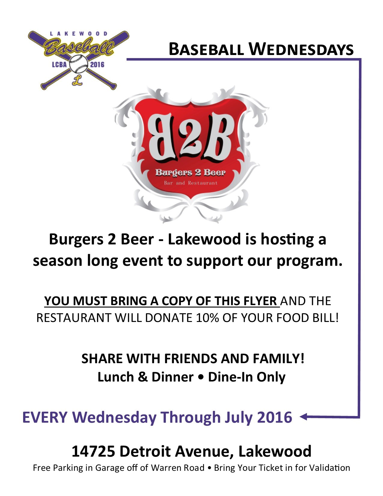 Baseball Wednesdays at Burgers 2 Beer through July