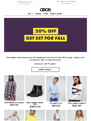 20% off fall picks