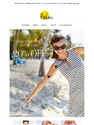 Important travel information: 20% OFF the Beach Shop