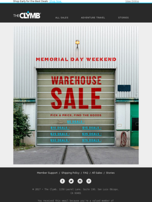 Memorial Day Weekend Warehouse Sale: Items as Low as $5!