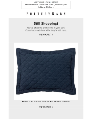 Your favorite items are still in your cart, come back soon and shop