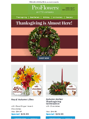 Turkey day is almost here! FREE vase & chocolates to help celebrate!