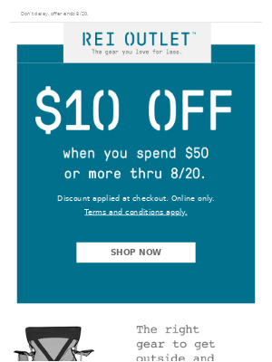 Starts Today: $10 Off $50