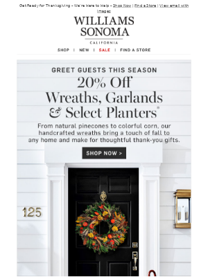 Greet Guests in Style with 20% Off Wreaths, Planters & More