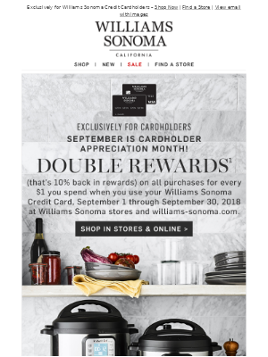 Exclusive for Cardholders: DOUBLE REWARDS Until September 30th!