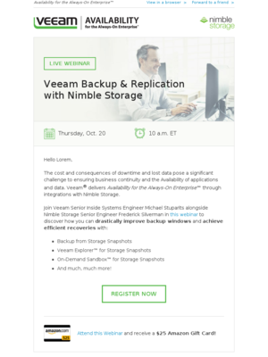 Webinar: Veeam Backup & Replication with Nimble Storage
