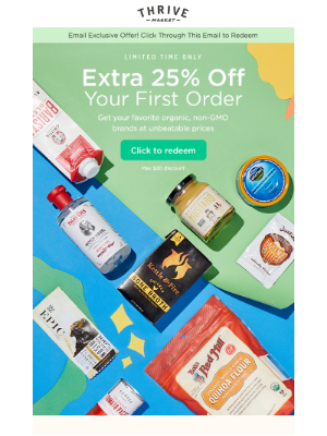 🎉 Surprise! Here's an extra 25% off your first order