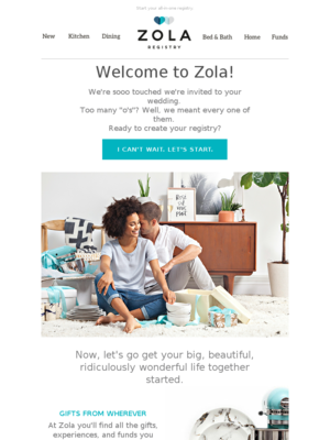 Welcome to Zola, the registry that'll do anything for love